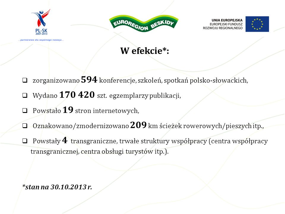 W efekcie*: zorganizowano 594 konferencje, szkoleń, spotkań polsko-słowackich, Wydano 170 420 szt. egzemplarzy publikacji,