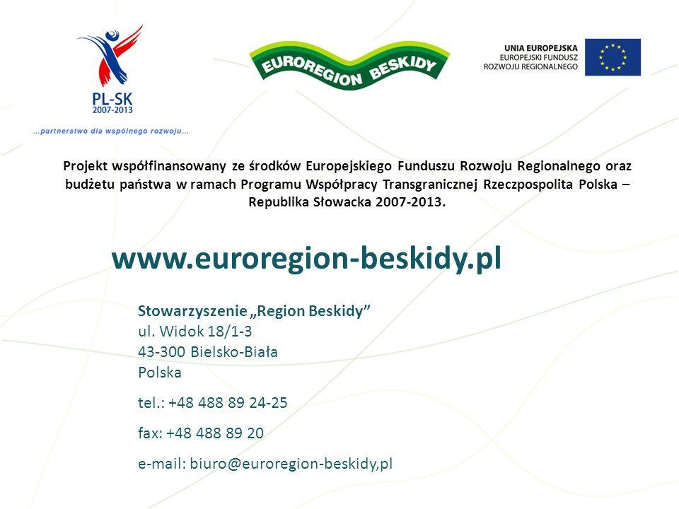 Projekt współfinansowany ze środków Europejskiego Funduszu Rozwoju Regionalnego oraz budżetu państwa w ramach Programu Współpracy Transgranicznej Rzeczpospolita Polska – Republika Słowacka 2007-2013.