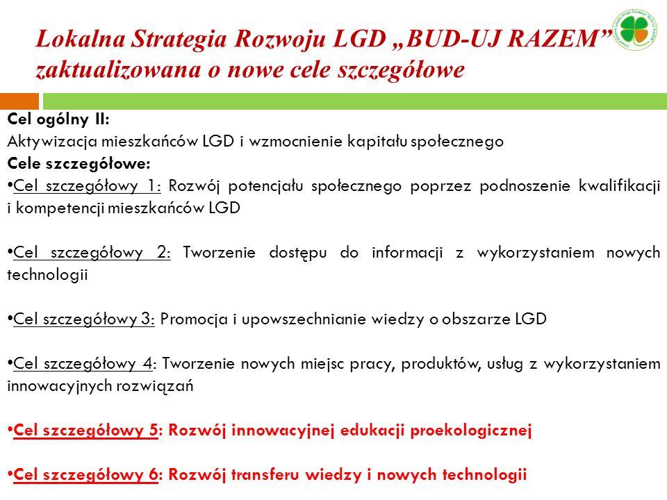 """Lokalna Strategia Rozwoju LGD """"BUD-UJ RAZEM zaktualizowana o nowe cele szczegółowe"""