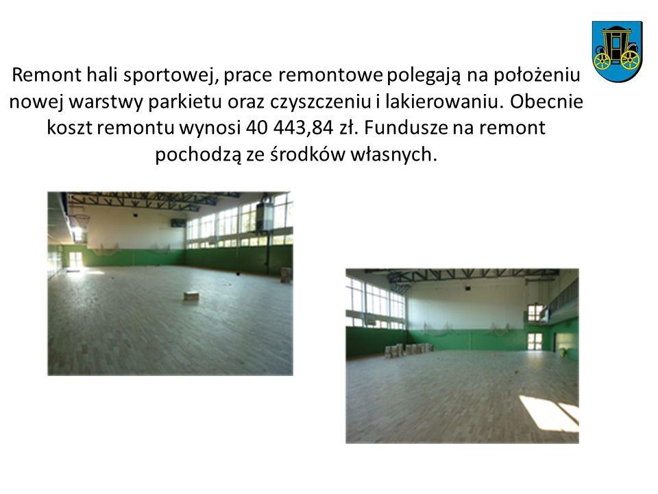 Remont hali sportowej, prace remontowe polegają na położeniu nowej warstwy parkietu oraz czyszczeniu i lakierowaniu.