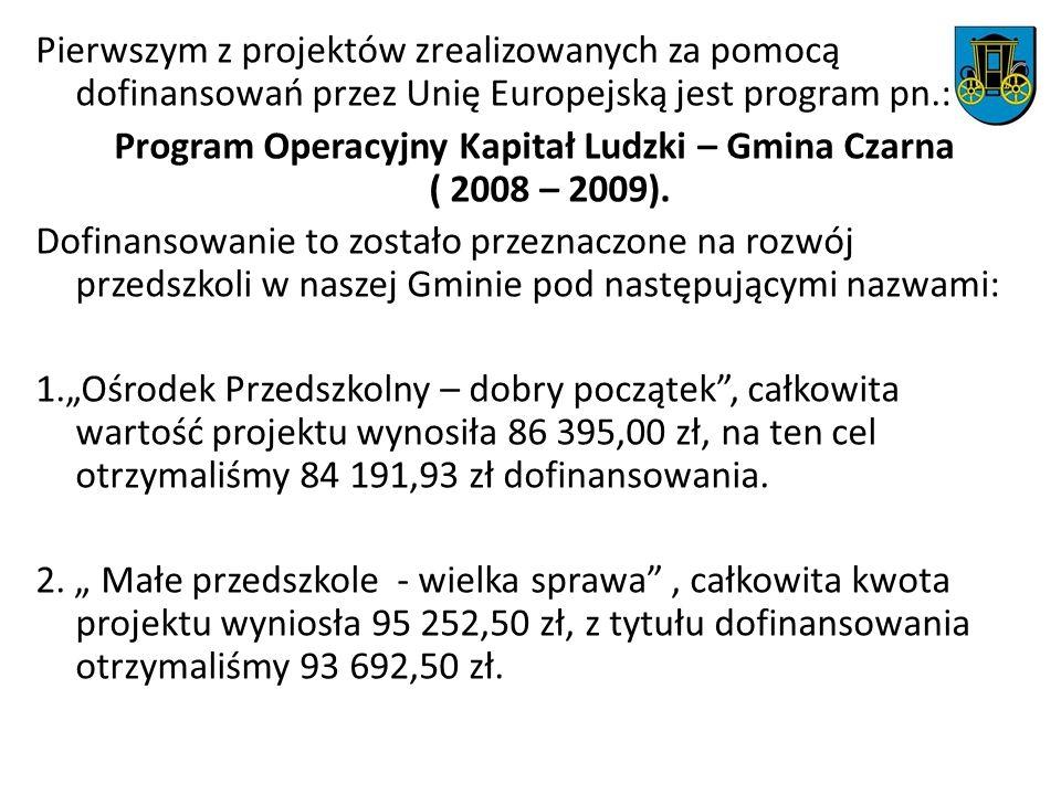 Pierwszym z projektów zrealizowanych za pomocą dofinansowań przez Unię Europejską jest program pn.: Program Operacyjny Kapitał Ludzki – Gmina Czarna ( 2008 – 2009).