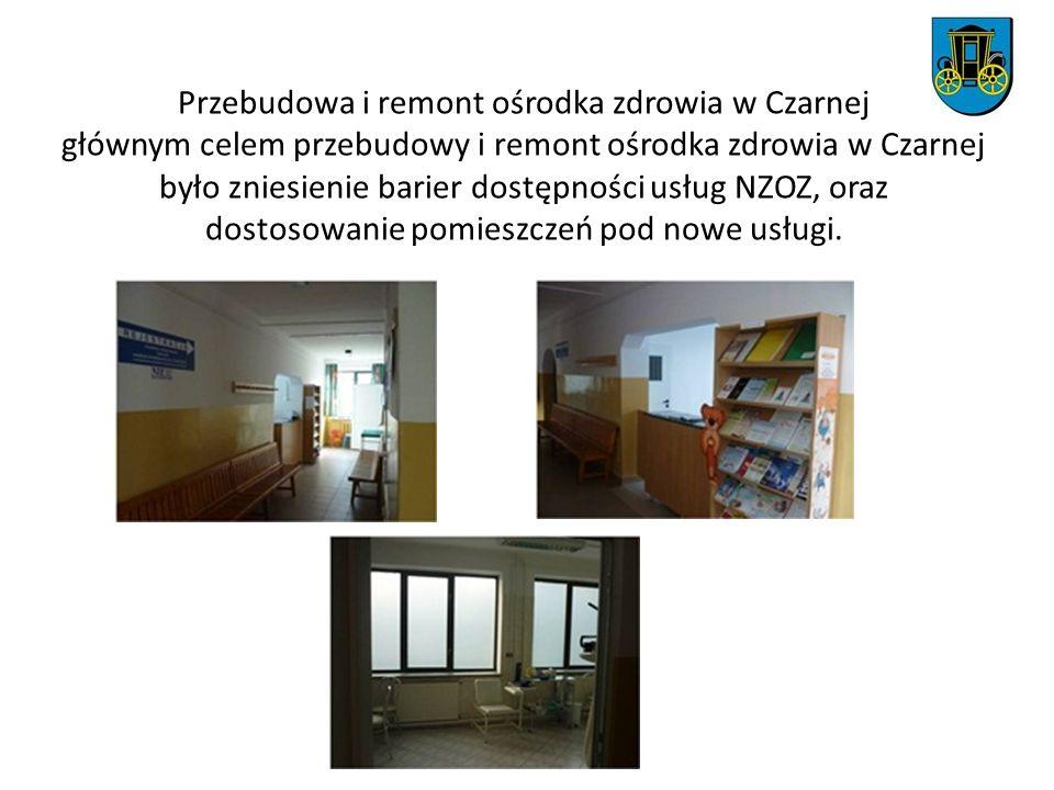 Przebudowa i remont ośrodka zdrowia w Czarnej głównym celem przebudowy i remont ośrodka zdrowia w Czarnej było zniesienie barier dostępności usług NZOZ, oraz dostosowanie pomieszczeń pod nowe usługi.