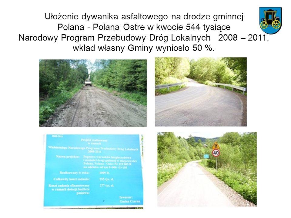 Ułożenie dywanika asfaltowego na drodze gminnej Polana - Polana Ostre w kwocie 544 tysiące Narodowy Program Przebudowy Dróg Lokalnych 2008 – 2011, wkład własny Gminy wyniosło 50 %.