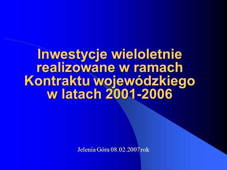 Inwestycje wieloletnie realizowane w ramach Kontraktu wojewódzkiego w latach 2001-2006