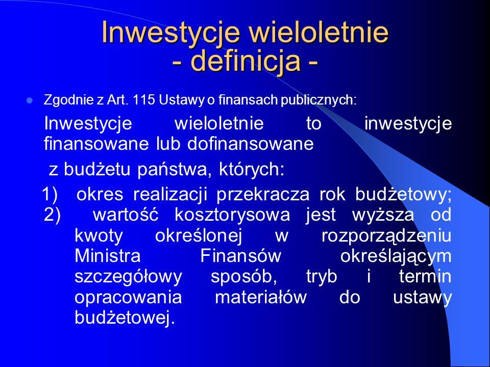 Inwestycje wieloletnie - definicja -