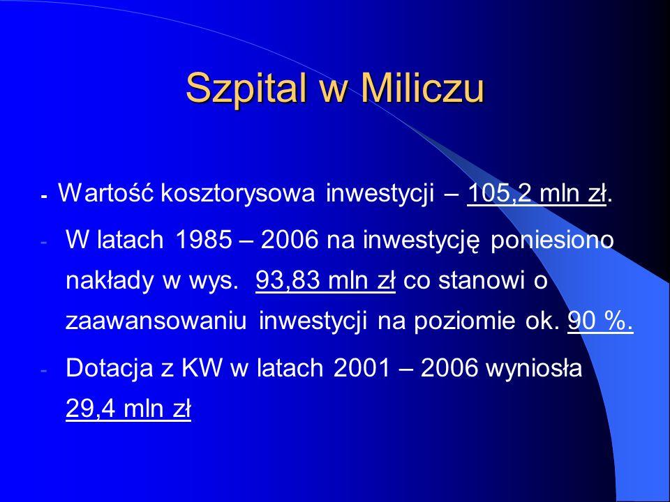 Szpital w Miliczu - Wartość kosztorysowa inwestycji – 105,2 mln zł.