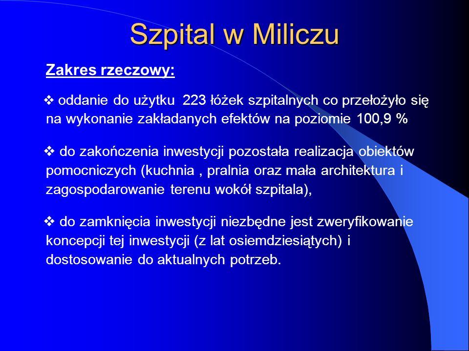 Szpital w Miliczu Zakres rzeczowy:
