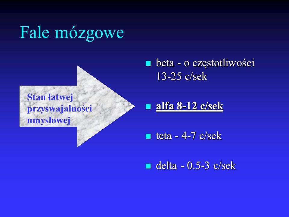 Fale mózgowe beta - o częstotliwości 13-25 c/sek alfa 8-12 c/sek