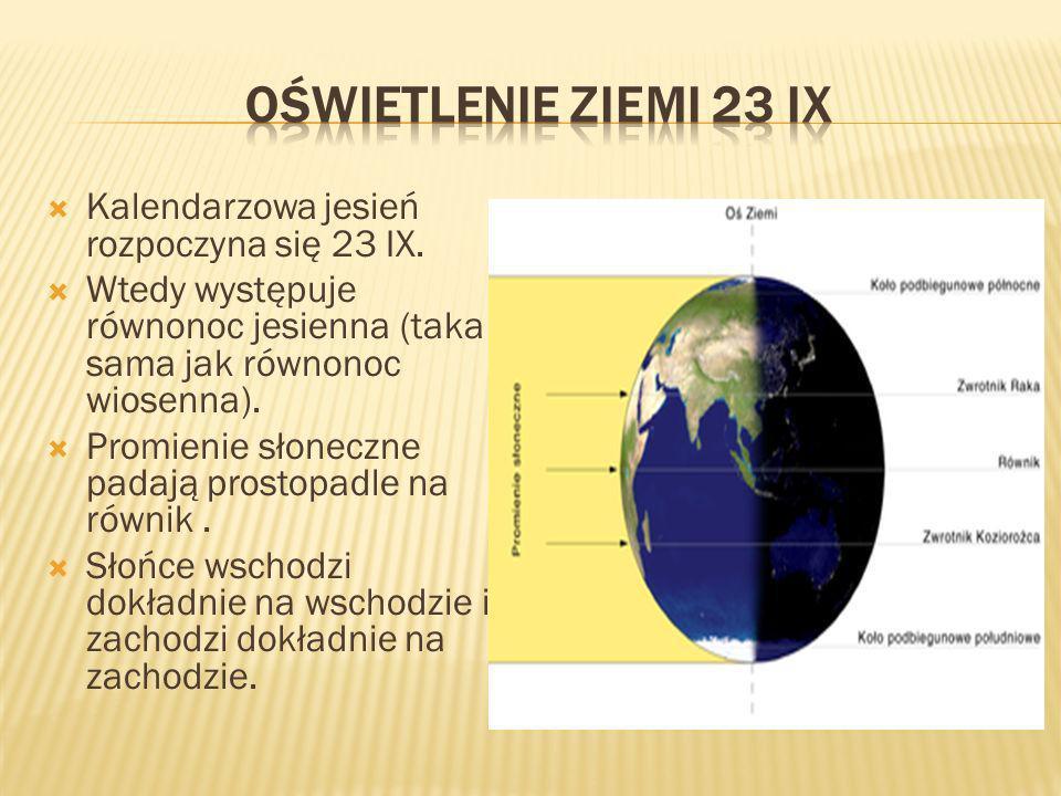 Oświetlenie ziemi 23 IX Kalendarzowa jesień rozpoczyna się 23 IX.
