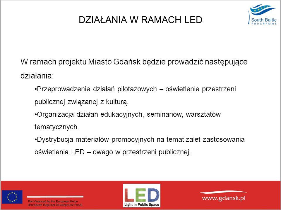 DZIAŁANIA W RAMACH LED W ramach projektu Miasto Gdańsk będzie prowadzić następujące działania: