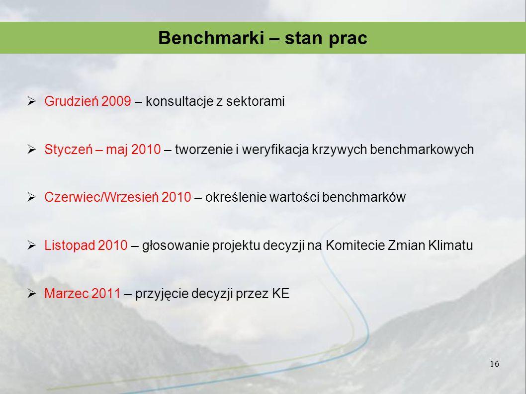 Benchmarki – stan prac Grudzień 2009 – konsultacje z sektorami