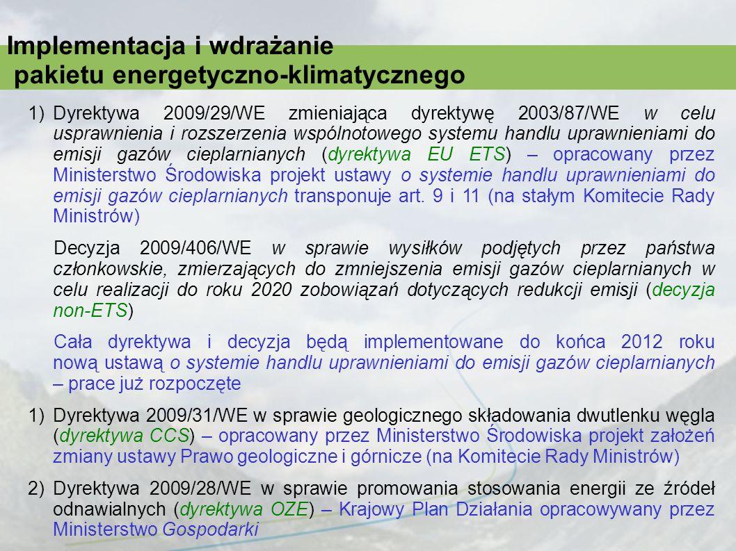 Implementacja i wdrażanie pakietu energetyczno-klimatycznego