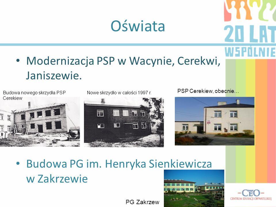 Oświata Modernizacja PSP w Wacynie, Cerekwi, Janiszewie.