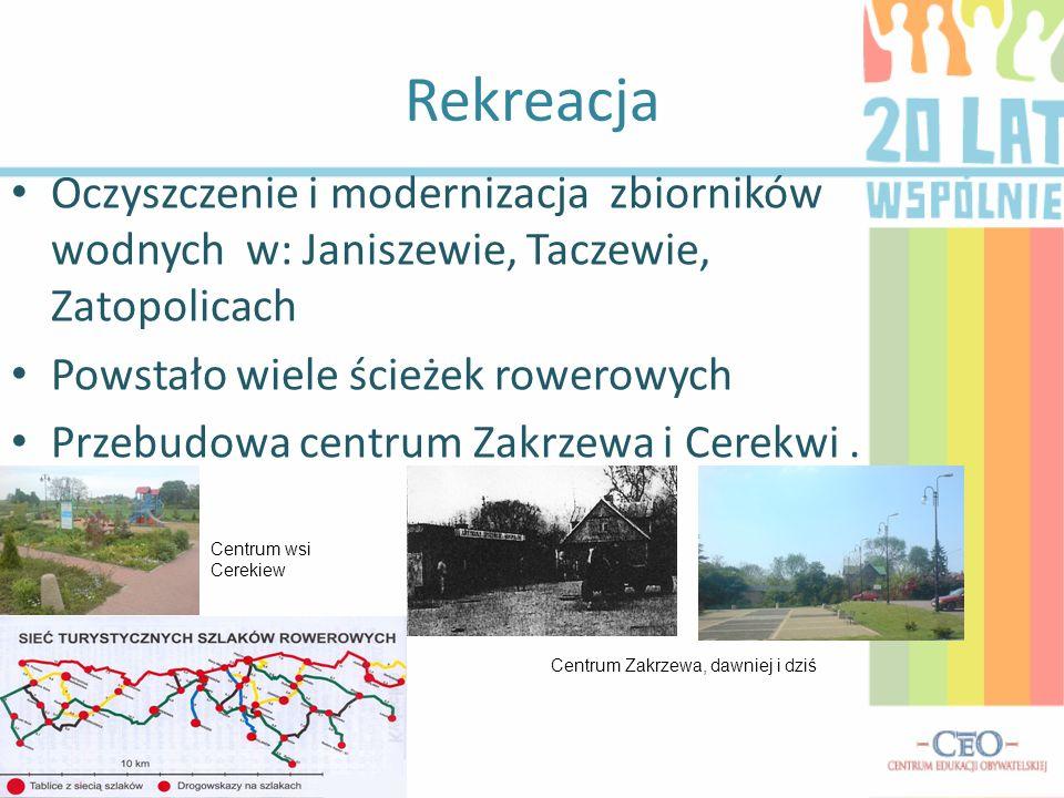 Rekreacja Oczyszczenie i modernizacja zbiorników wodnych w: Janiszewie, Taczewie, Zatopolicach. Powstało wiele ścieżek rowerowych.