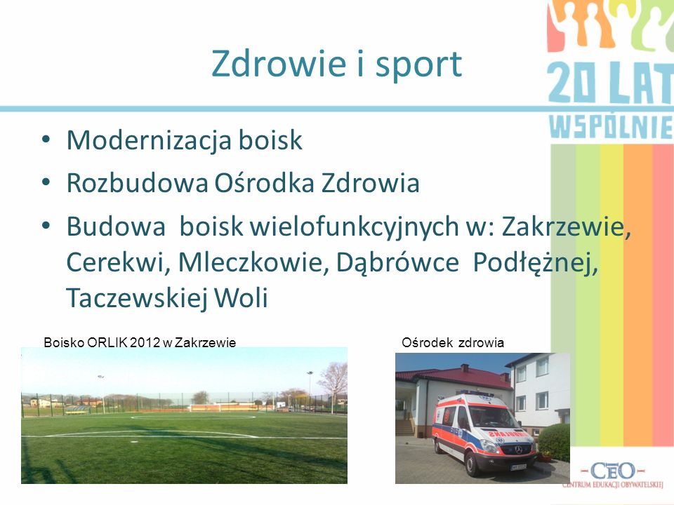 Zdrowie i sport Modernizacja boisk Rozbudowa Ośrodka Zdrowia