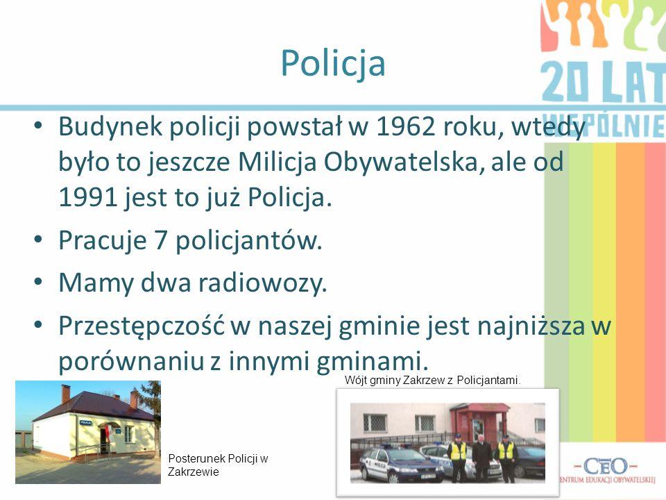 Policja Budynek policji powstał w 1962 roku, wtedy było to jeszcze Milicja Obywatelska, ale od 1991 jest to już Policja.