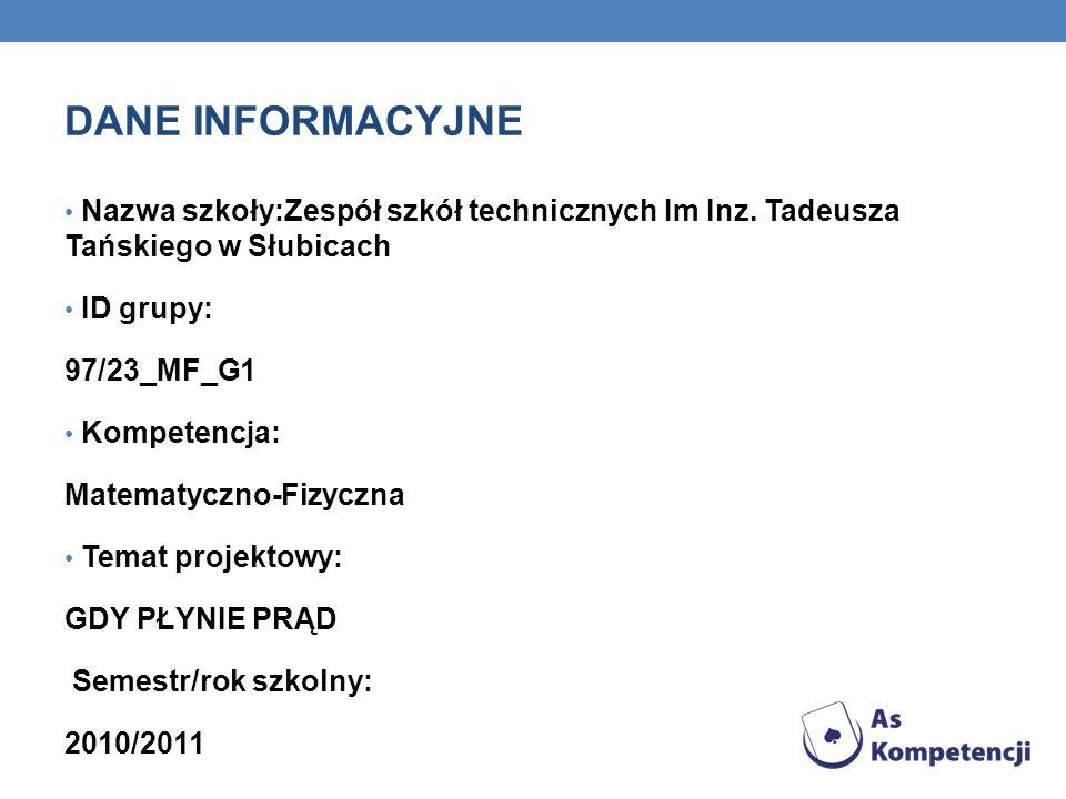 DANE INFORMACYJNE Nazwa szkoły:Zespół szkół technicznych Im Inz. Tadeusza Tańskiego w Słubicach. ID grupy: