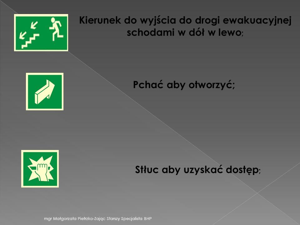 Kierunek do wyjścia do drogi ewakuacyjnej schodami w dół w lewo;