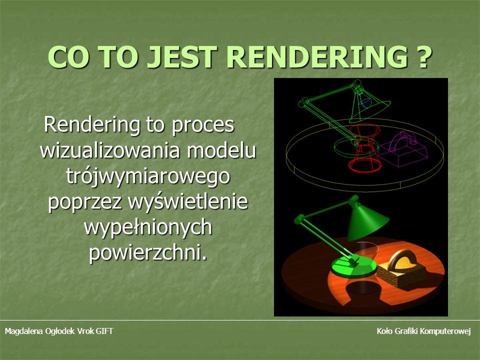 CO TO JEST RENDERING Rendering to proces wizualizowania modelu trójwymiarowego poprzez wyświetlenie wypełnionych powierzchni.