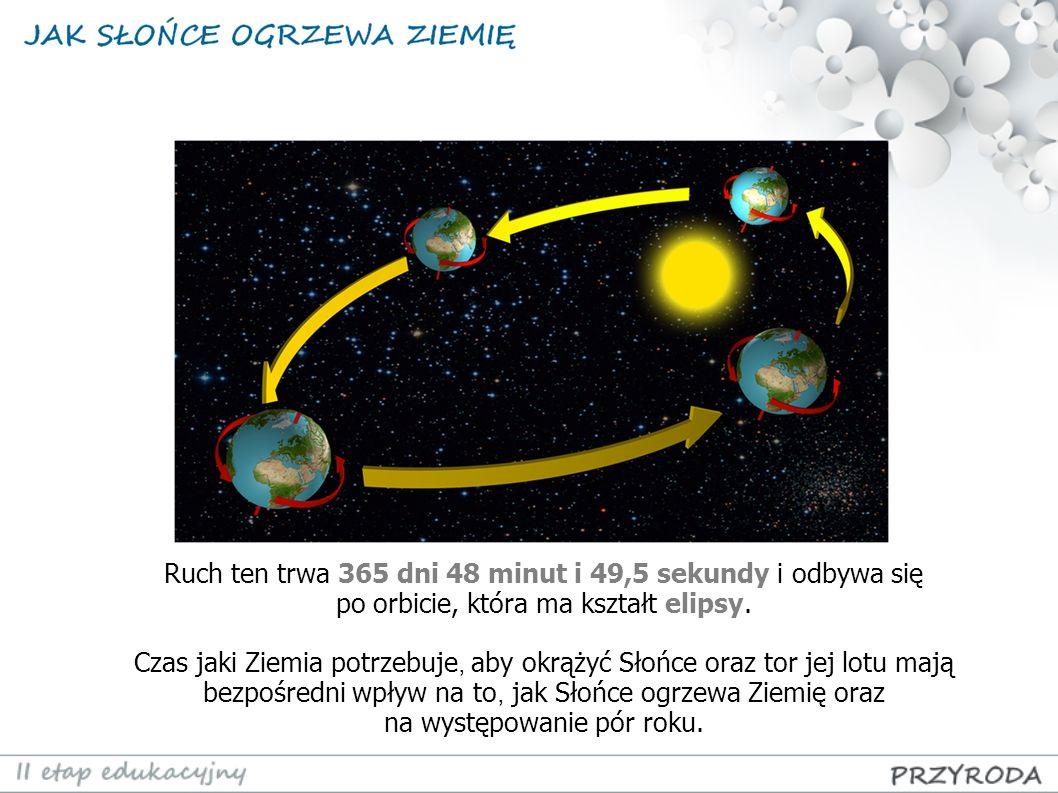 Ruch ten trwa 365 dni 48 minut i 49,5 sekundy i odbywa się po orbicie, która ma kształt elipsy.