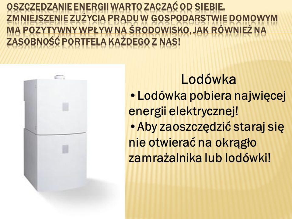 Lodówka Lodówka pobiera najwięcej energii elektrycznej!