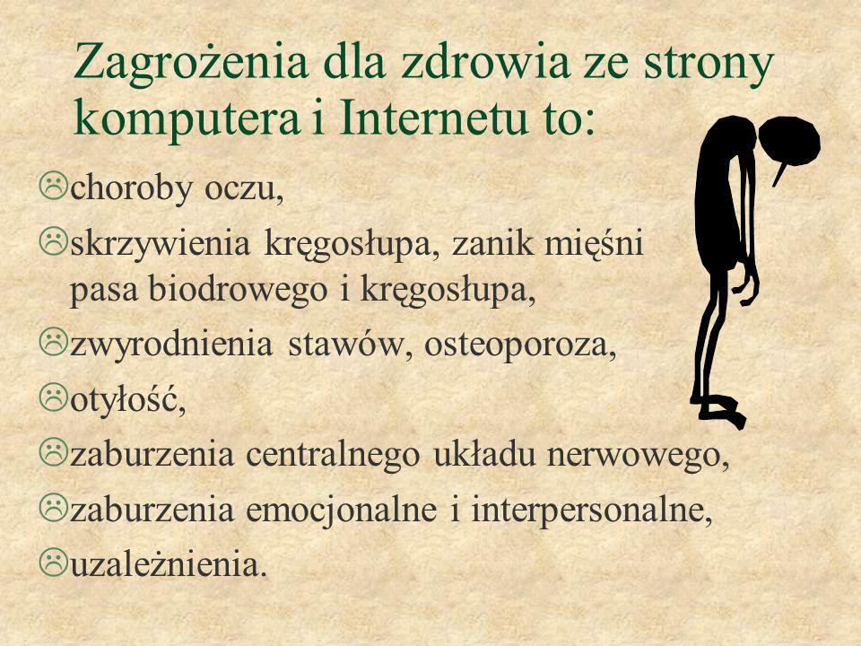 Zagrożenia dla zdrowia ze strony komputera i Internetu to:
