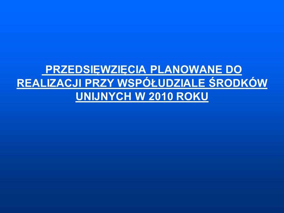 PRZEDSIĘWZIĘCIA PLANOWANE DO REALIZACJI PRZY WSPÓŁUDZIALE ŚRODKÓW UNIJNYCH W 2010 ROKU