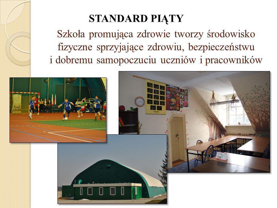 STANDARD PIĄTY Szkoła promująca zdrowie tworzy środowisko fizyczne sprzyjające zdrowiu, bezpieczeństwu i dobremu samopoczuciu uczniów i pracowników.