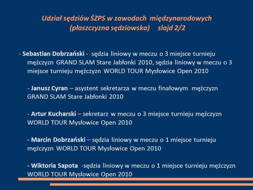 Udział sędziów ŚZPS w zawodach międzynarodowych (płaszczyzna sędziowska) slajd 2/2