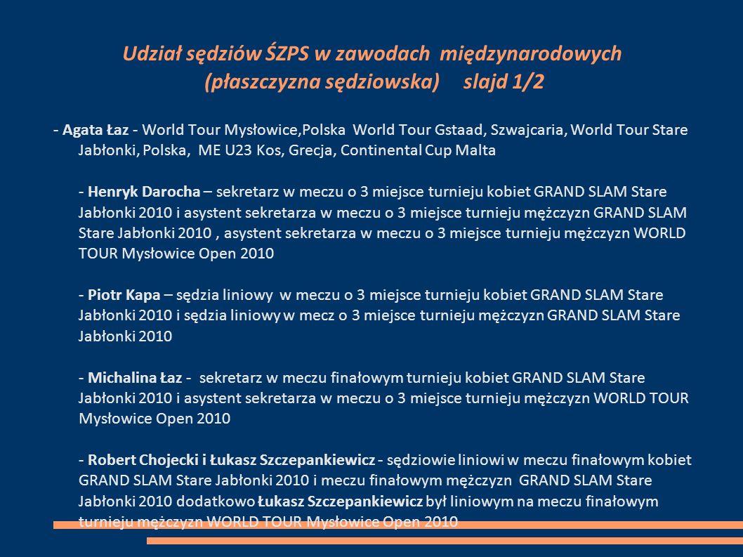 Udział sędziów ŚZPS w zawodach międzynarodowych (płaszczyzna sędziowska) slajd 1/2