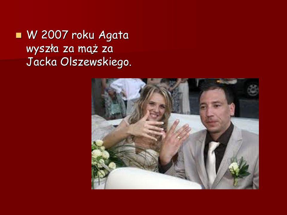 W 2007 roku Agata wyszła za mąż za Jacka Olszewskiego.
