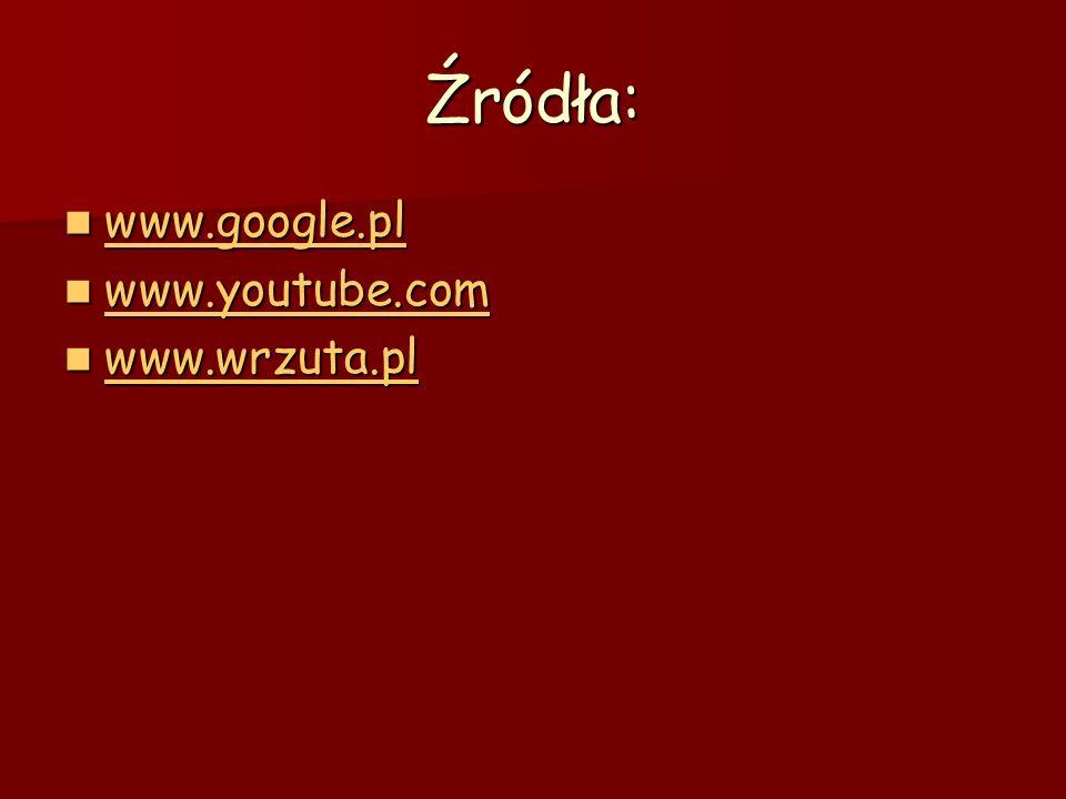 Źródła: www.google.pl www.youtube.com www.wrzuta.pl