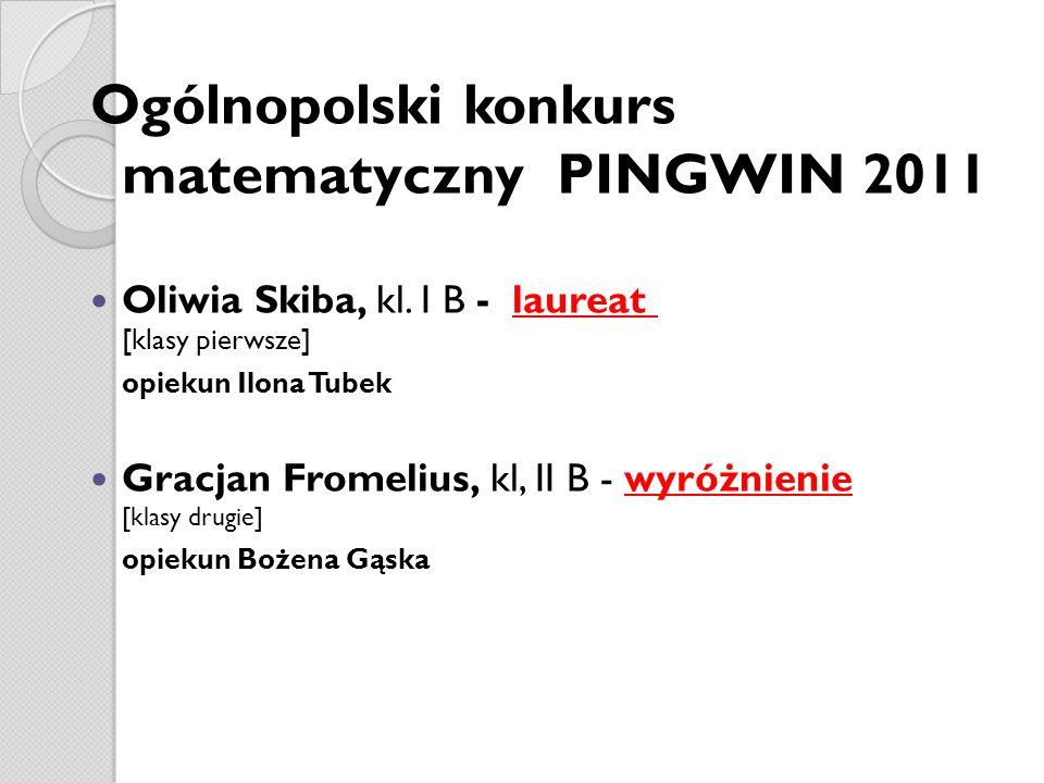 Ogólnopolski konkurs matematyczny PINGWIN 2011