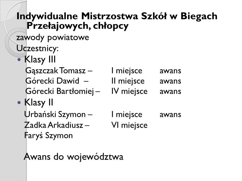 Indywidualne Mistrzostwa Szkół w Biegach Przełajowych, chłopcy