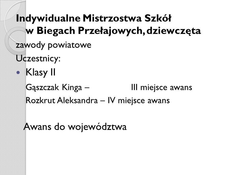 Indywidualne Mistrzostwa Szkół w Biegach Przełajowych, dziewczęta