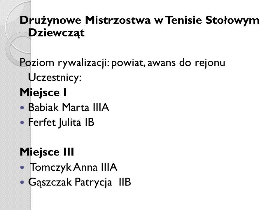 Drużynowe Mistrzostwa w Tenisie Stołowym Dziewcząt