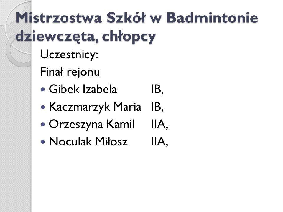Mistrzostwa Szkół w Badmintonie dziewczęta, chłopcy