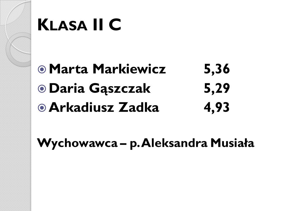 Klasa II C Marta Markiewicz 5,36 Daria Gąszczak 5,29