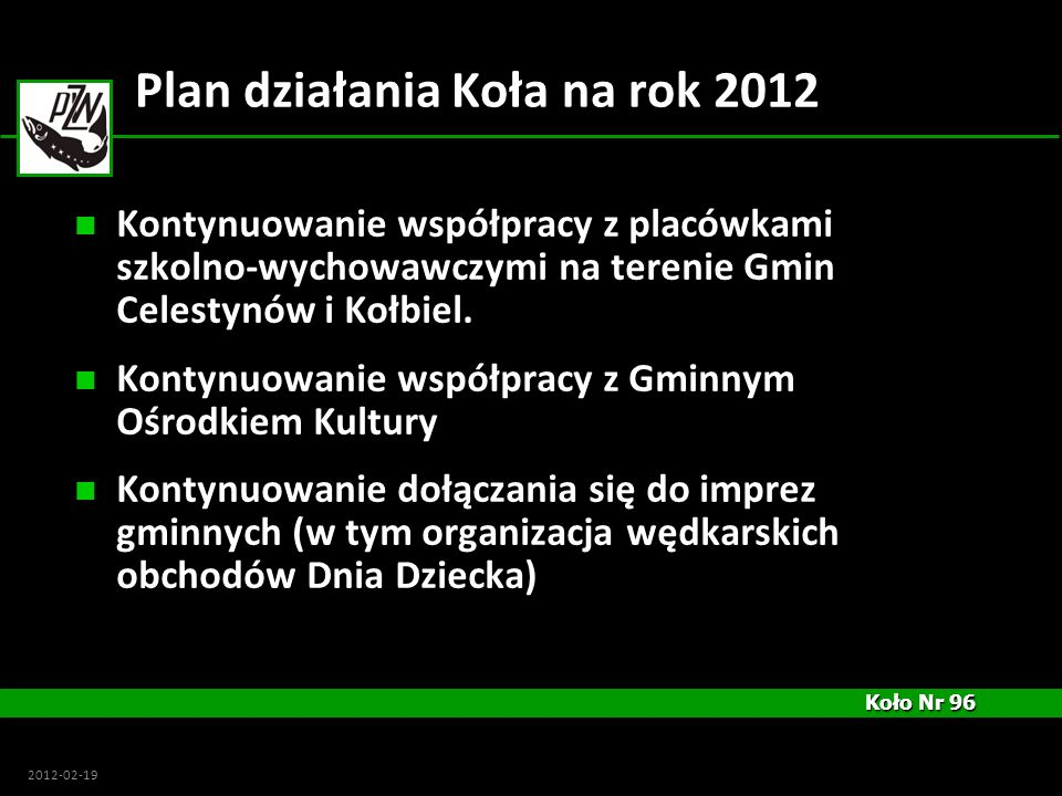 Plan działania Koła na rok 2012