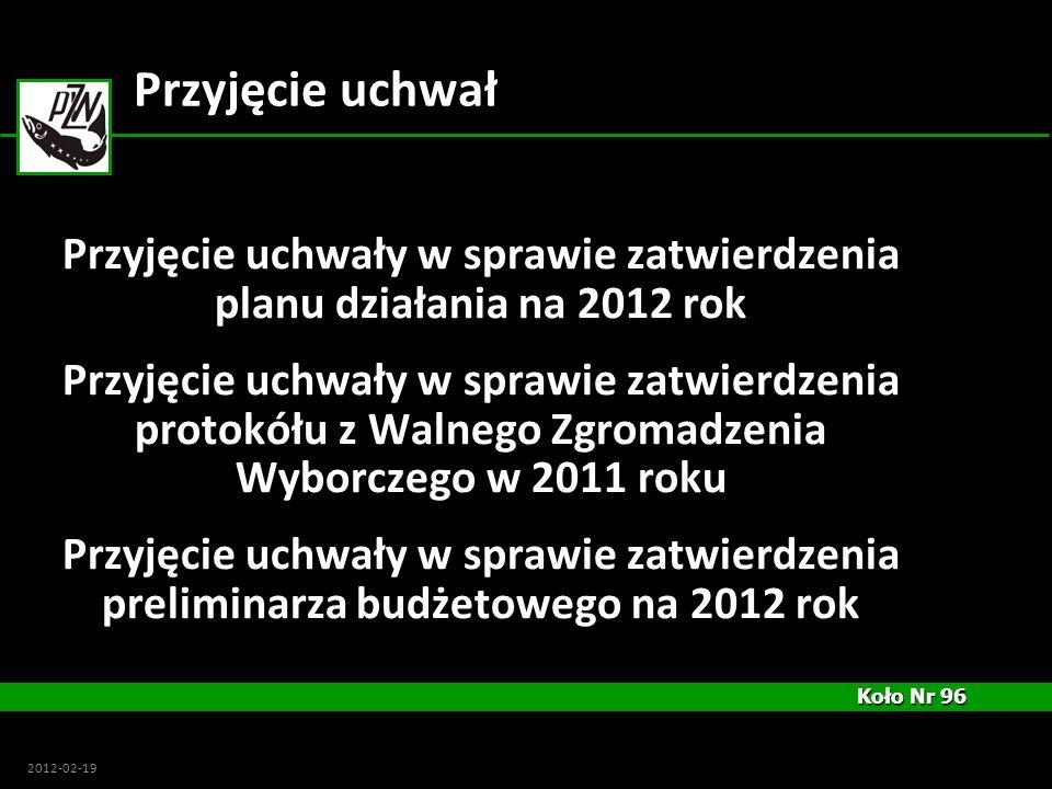 Przyjęcie uchwały w sprawie zatwierdzenia planu działania na 2012 rok