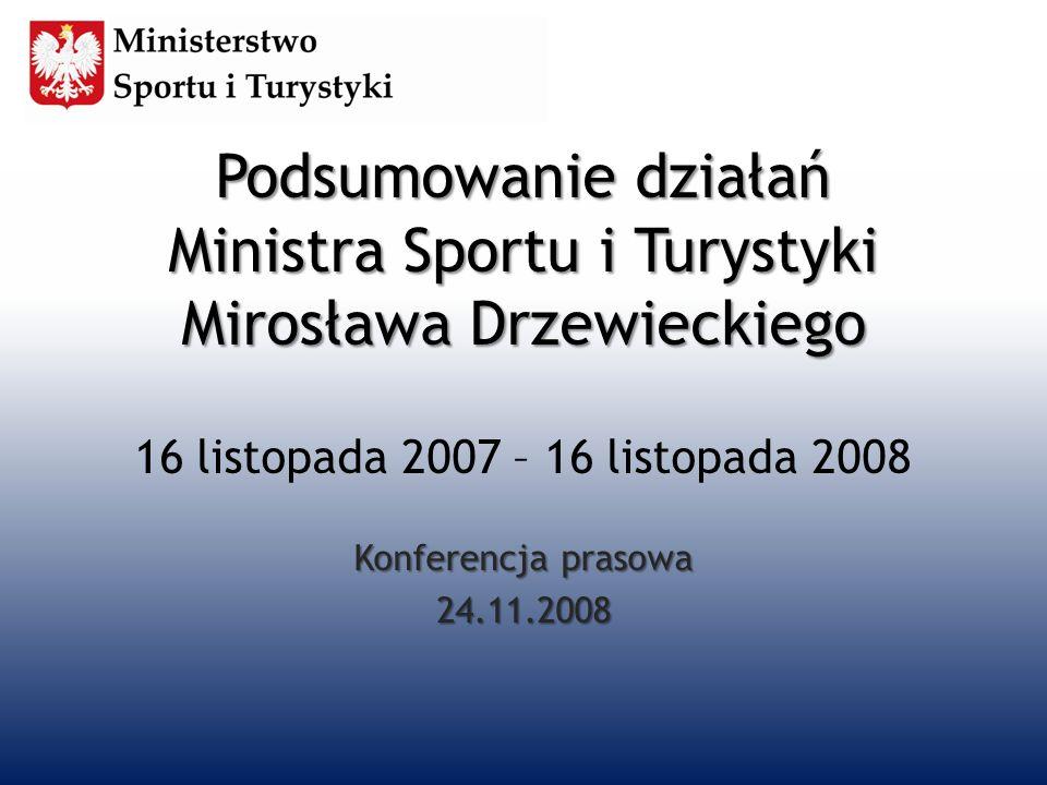 Podsumowanie działań Ministra Sportu i Turystyki Mirosława Drzewieckiego 16 listopada 2007 – 16 listopada 2008