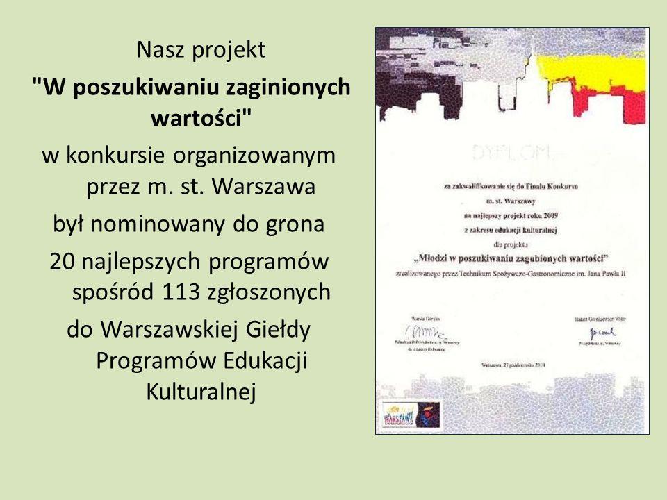 Nasz projekt W poszukiwaniu zaginionych wartości w konkursie organizowanym przez m.
