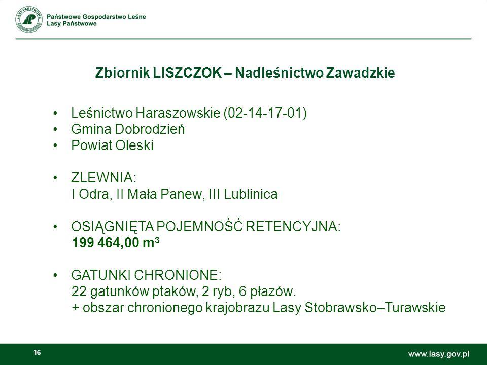 Zbiornik LISZCZOK – Nadleśnictwo Zawadzkie