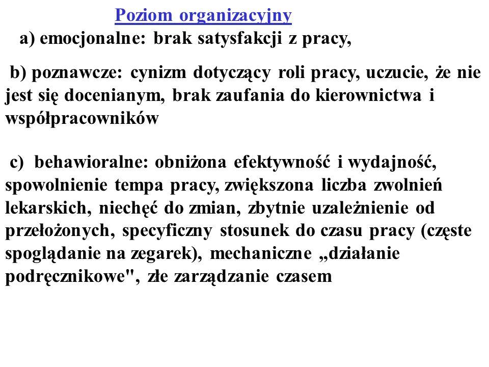 Poziom organizacyjny a) emocjonalne: brak satysfakcji z pracy,