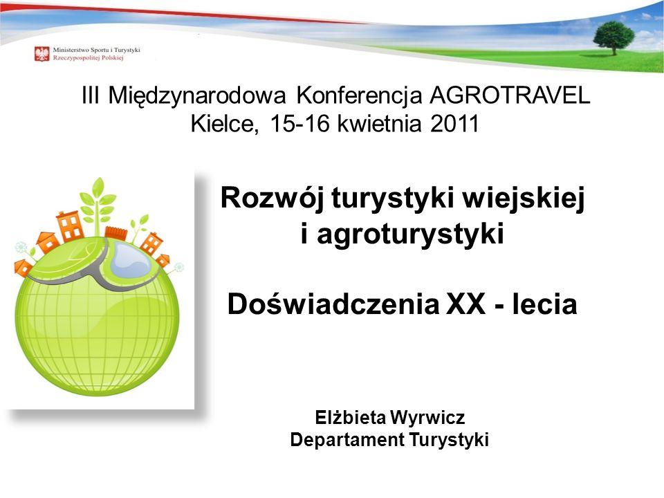 Rozwój turystyki wiejskiej i agroturystyki Doświadczenia XX - lecia