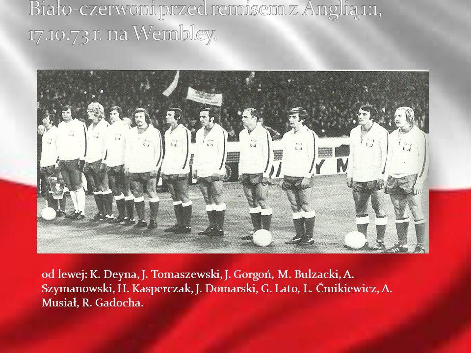 Biało-czerwoni przed remisem z Anglią 1:1, 17.10.73 r. na Wembley.
