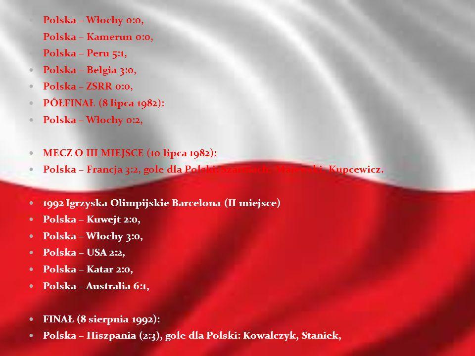 Polska – Włochy 0:0, Polska – Kamerun 0:0, Polska – Peru 5:1, Polska – Belgia 3:0, Polska – ZSRR 0:0,