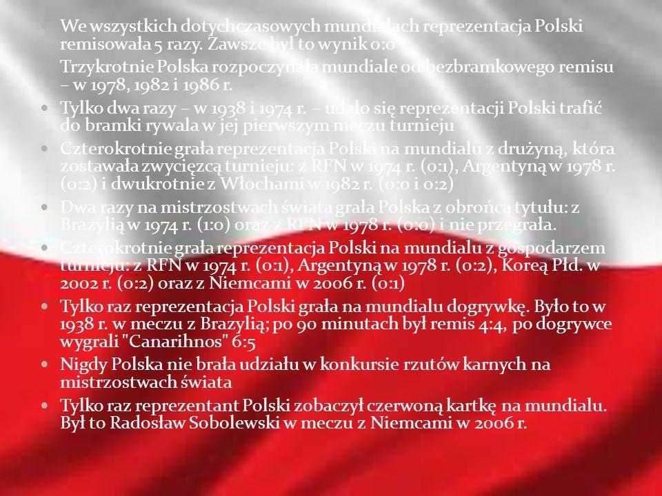 We wszystkich dotychczasowych mundialach reprezentacja Polski remisowała 5 razy. Zawsze był to wynik 0:0
