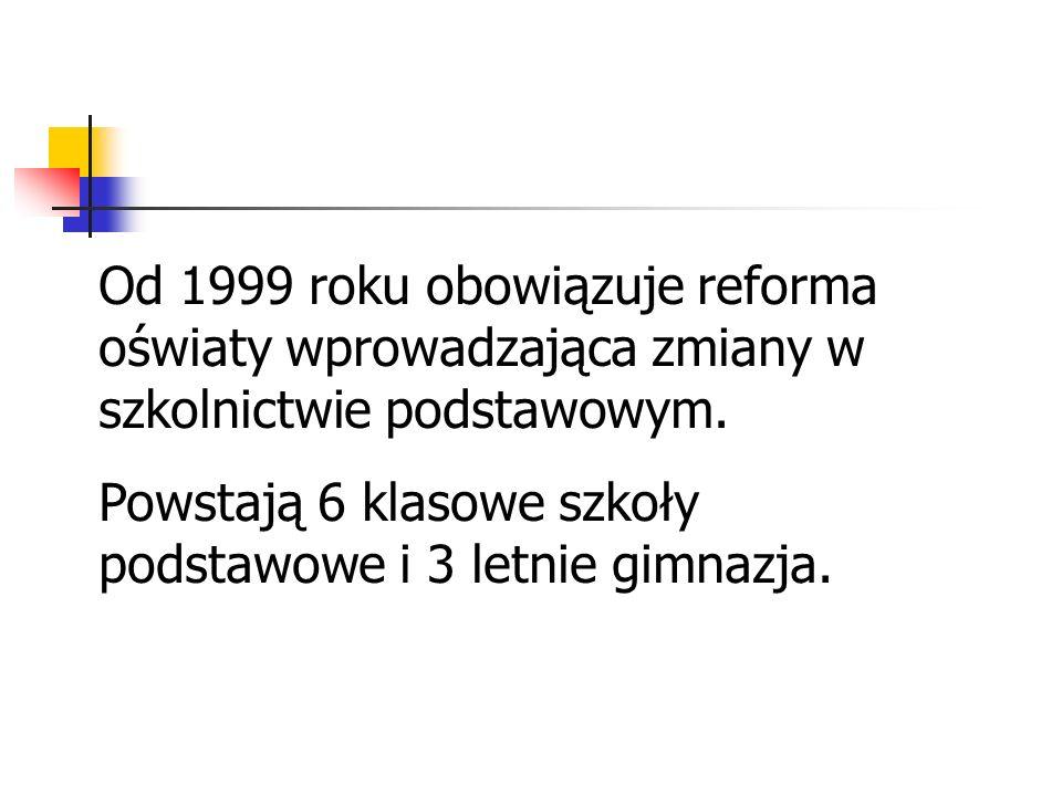 Od 1999 roku obowiązuje reforma oświaty wprowadzająca zmiany w szkolnictwie podstawowym.