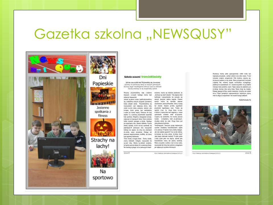 """Gazetka szkolna """"NEWSQUSY"""